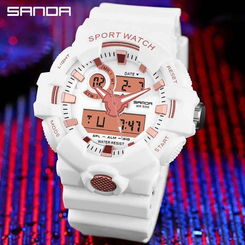 Top marque montre numérique hommes de luxe antichoc chronomètre montres SANDA marque électronique montre-bracelet hommes horloge alarme rappelant