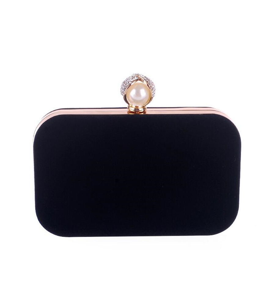 Women's Evening Dress Bag Vintage Black Flannel Clutch Wedding Party Prom Accessories Bag Metal Chain Red Shoulder Bag Wallet