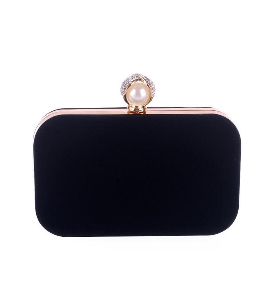 Women's Evening Dress Bag Vintage Black Flannel Clutch Wedding Party Prom Accessories Bag Metal Chain Red Shoulder Bag Wallet