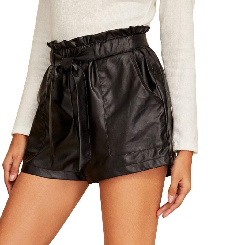 2020 New Fashion Women Elastic Waisted Shorts Belt Wide Leg PU Leather High Waist Casual Pure Black Short Pants Bottom Clothing