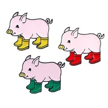 Piggy Brooches BadgeFun Pig With Rain Boots Enamel Pins Denim Jeans Lapel Pin Cartoon Cute Animal Jewelry Kids Friends Gift(China)
