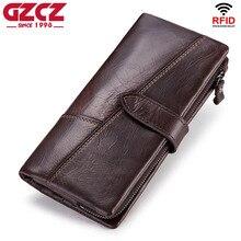 Gzcz carteira de couro genuíno dos homens moda moeda bolsa homem walet titular do cartão portomonee longo vallet braçadeira para o dinheiro masculino embreagem