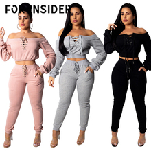 For Insider Winter female two piece sets tracksuit Off shoulder lace up hoodie crop top sweatshirt and pants set Women outfits
