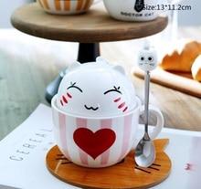 Cartoon Ceramic Mug Double Layer Coffee Cup with Lid Handle Spoon Child Milk Heat-resistant Cat Shape Birthday Gift Mug Cup moomin cartoon mug snorkmaiden snufkin little my sniff the snork stinky mymble caneca coffee cup muumi child gifts