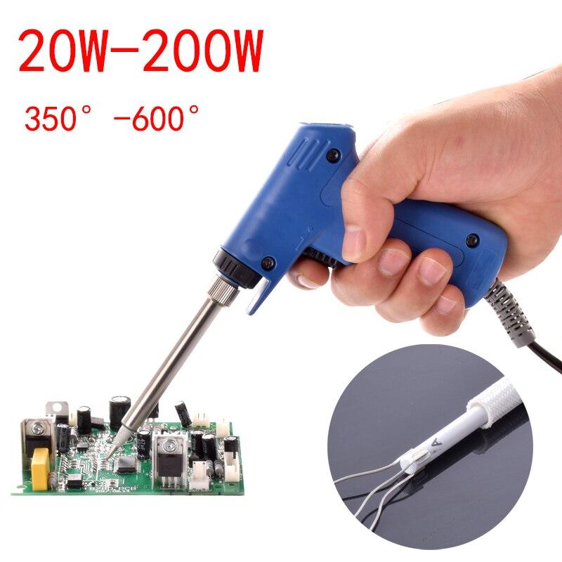 Ferro de solda de alta potência 220 v 20 w-200 w profissional de potência dupla rápida heat-up ajustável solda elétrica pistola de ferro de solda
