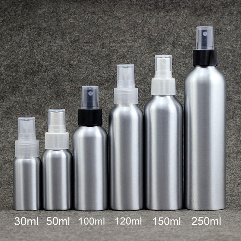 30ml 50ml 100ml <font><b>120ml</b></font> 150ml 250m Aluminum <font><b>Spray</b></font> <font><b>Bottle</b></font> Cosmetic Toners Water Packaging Perfume Metal Container Free Shipping image