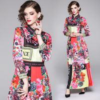 Fashion Fall Runway Maxi Dress Women's Long Sleeve Single Breasted Retro Printed Celebrity Evening Party Long Dress vestidos