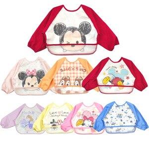 Ropa de alimentación de bebé Unisex impermeable de dibujos animados, ropa de manga larga, delantal de arte, Baberos de animales, bolsa de arroz EVA infantil, ropa con dibujos para niños