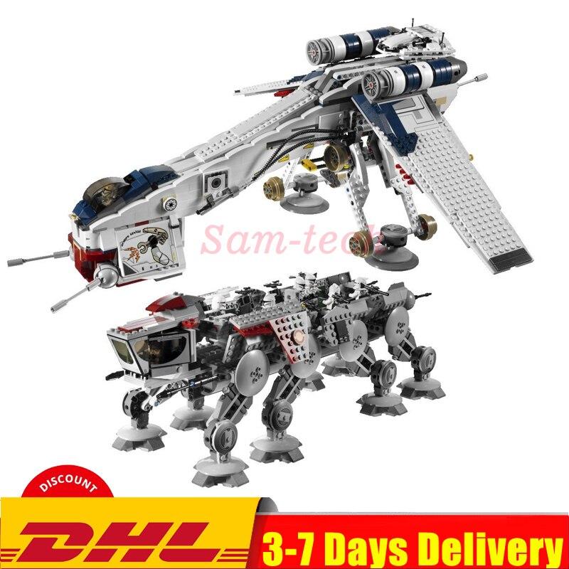 DHL 05053 1788Pcs Genuine Star Was Republic Dropship With AT-OT Walker Set Building Blocks Bricks Compatible Legoinglys  10195