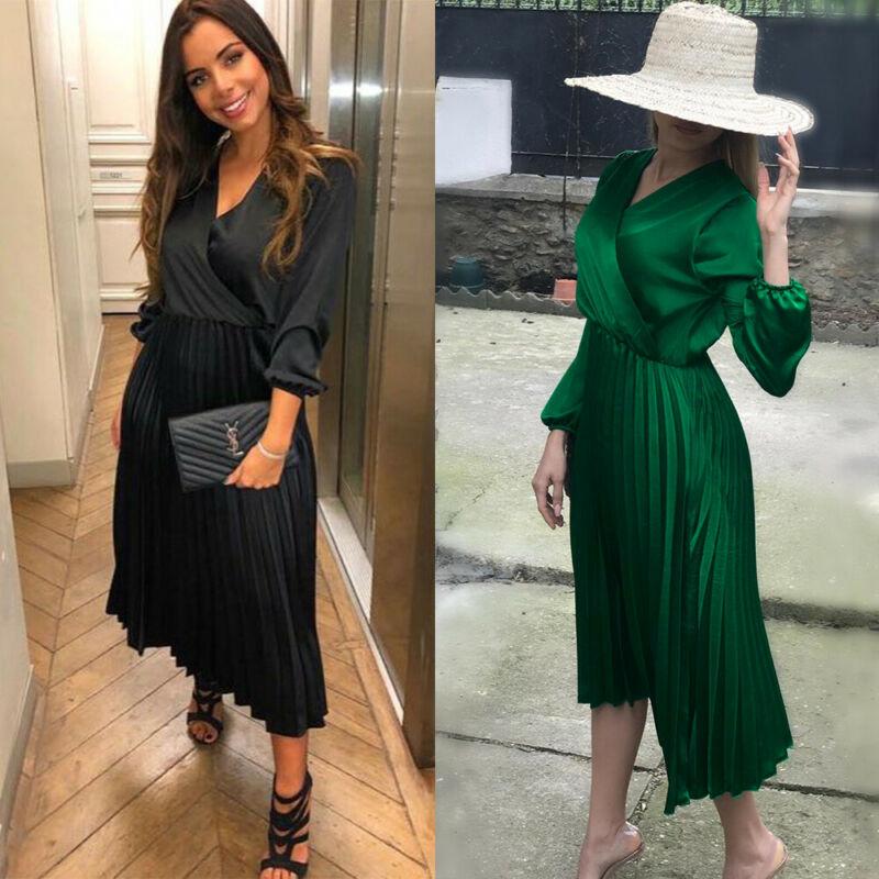 Elegant Womens V neck Pleated Maxi Dress Autumn Long sleeve Boho Evening Party Long Dress Pleated dress Vestidos