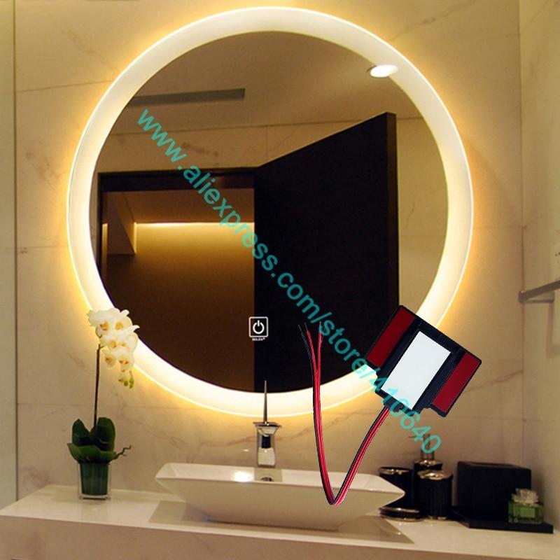 Ac 220v Lumiere Miroir Tactile Interrupteur Salle De Bain Miroir Interrupteur Led Controle Tactile Pour Miroir De Meubles Armoire Placard Buffet Aliexpress