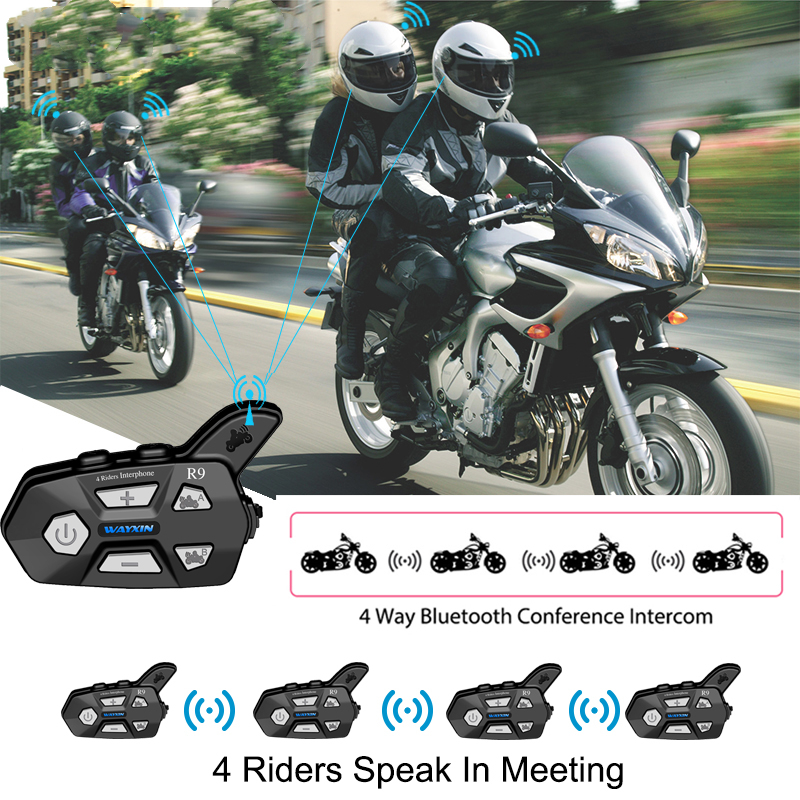 2PCS Motorcycle Intercome 4 Riders Talking Same Time Helmet Headsets   Bluetooth Intercom For Motorcycle FM Intercom Motorcycle