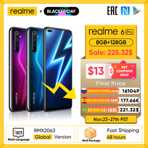 Realme 6 Pro Mobile Phone 6.6inch 90Hz Display 64MP Cam 8GB 128GB Snapdragon 720G Smartphone Cellphone Android Phone Telephones