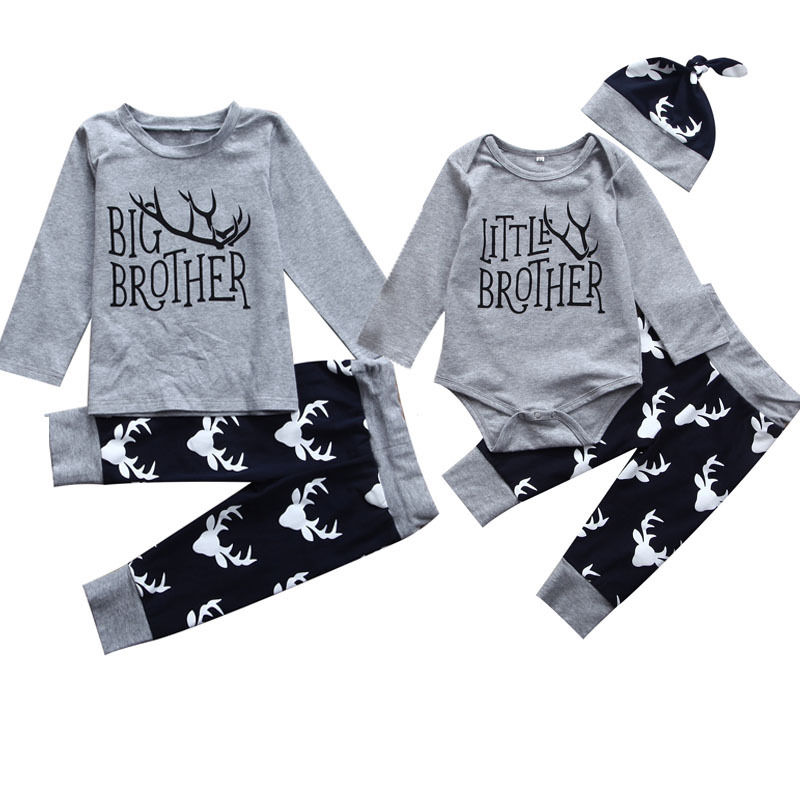 2019 Autumn Brothers Match Clothes Little Brother Romper Big Brother T-shirt Tops+Deer Long Pant Hat Family Match Clothing
