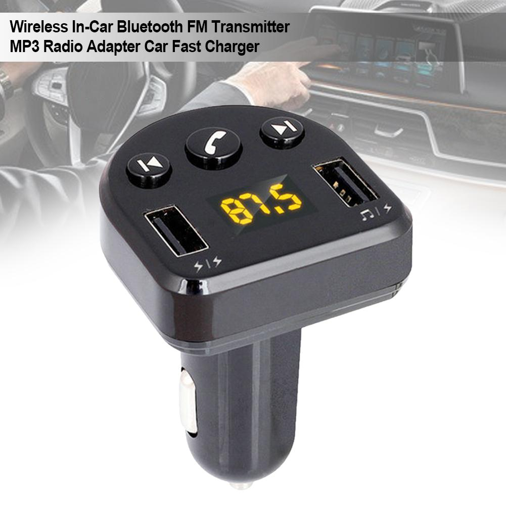 T852 Car MP3 Smart Dual <font><b>USB</b></font> Bluetooth <font><b>Receiver</b></font> Player V5.0+ED Wireless In-car FM Transmitter Radio Adapter Car Fast Charger image