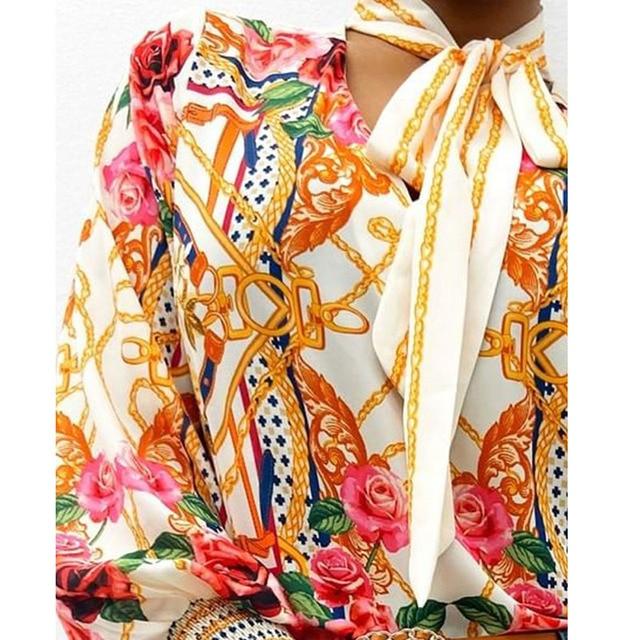 Scarf Neck Baroque Print Top Blouses Women Retro Print Lantern Sleeve Blouse Shirt Elegant Office Lady Shirt Fashion 2