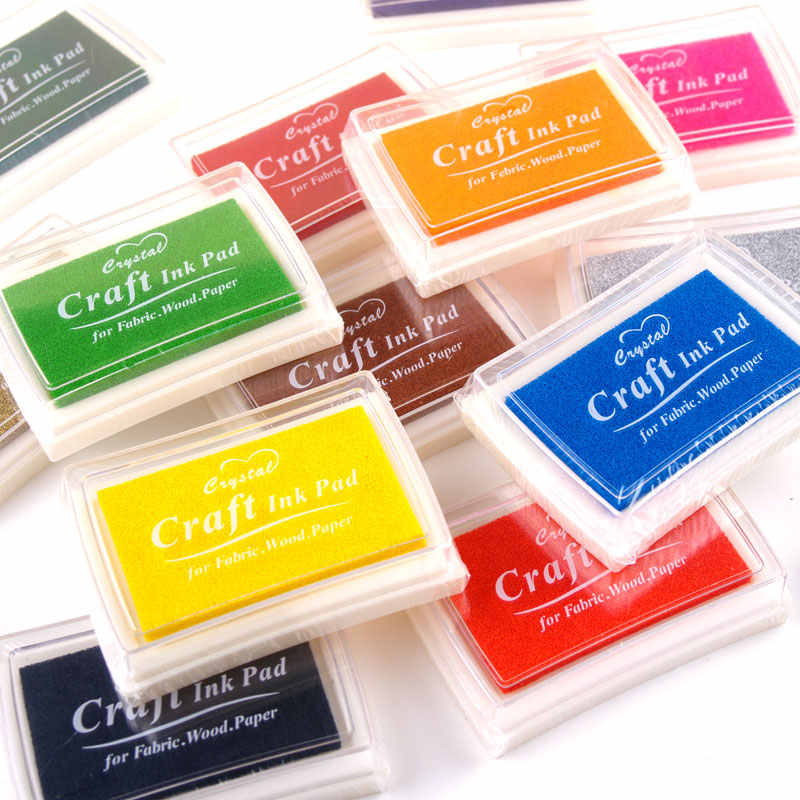 15 renk zanaat yağ bazlı DIY mürekkep pedi kauçuk pullar için kumaş ahşap kağıt Scrapbooking Inkpad parmak izi stampası çocuk hediye