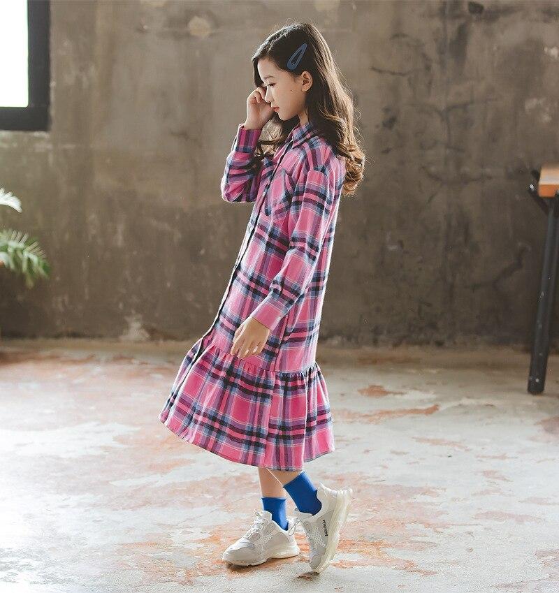Novo 2019 outono menina vestido xadrez bebê