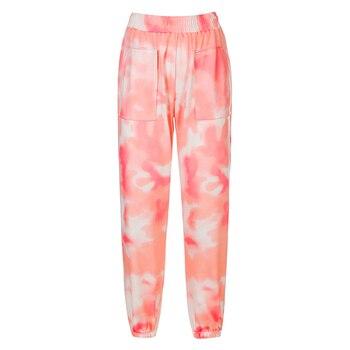 Rockmore Tie Dye Pencil Pants Plus Size Womens Streeetwear High Waisted Joggers Pink Harajuku Trousers Pockets Loose SweatPants 7