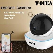 WOFEA 1080P/ 4MP WIFI IP كاميرا لاسلكية مراقبة HD AI كاميرا تلفزيونات الدوائر المغلقة السيارات المسار تنبيه آري/كوردون P2P للرؤية الليلية iCSee