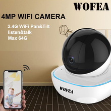 Wofea 1080p/4mp wifi ip câmera de vigilância sem fio hd ai cctv câmera auto faixa alerta aare/cordon p2p visão noturna icsee