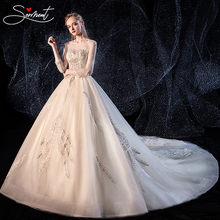 SERMENT Luxury Royal Wedding Dress 2019 Boho Starry Sky Charming Round Neck Lace UpCathedral 100cm Crystal Appliques Free Custom