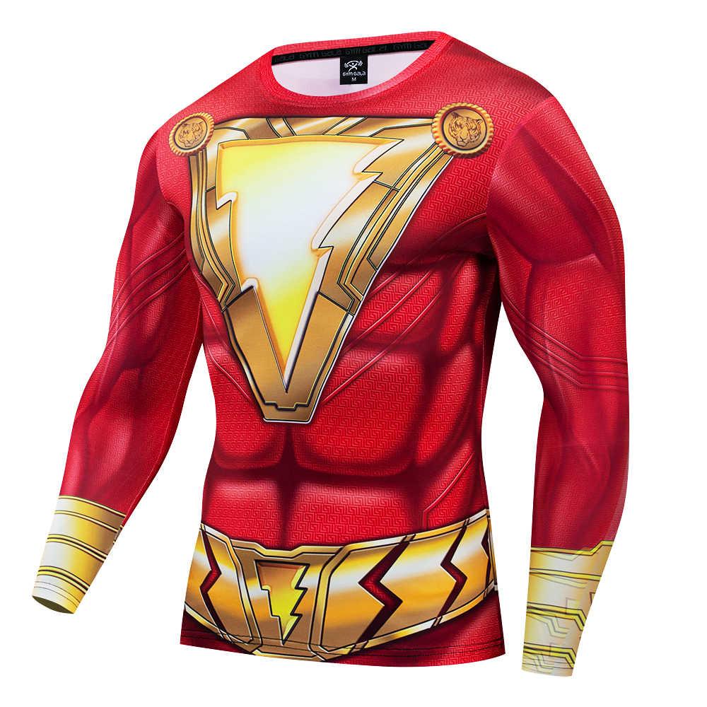 Marvel Superhero Homem Cos Roupas Tight-fitting Respirável Camisa de Manga Longa Homem Spide-homem de Ferro Capitão Hulk Elastic3D roupas