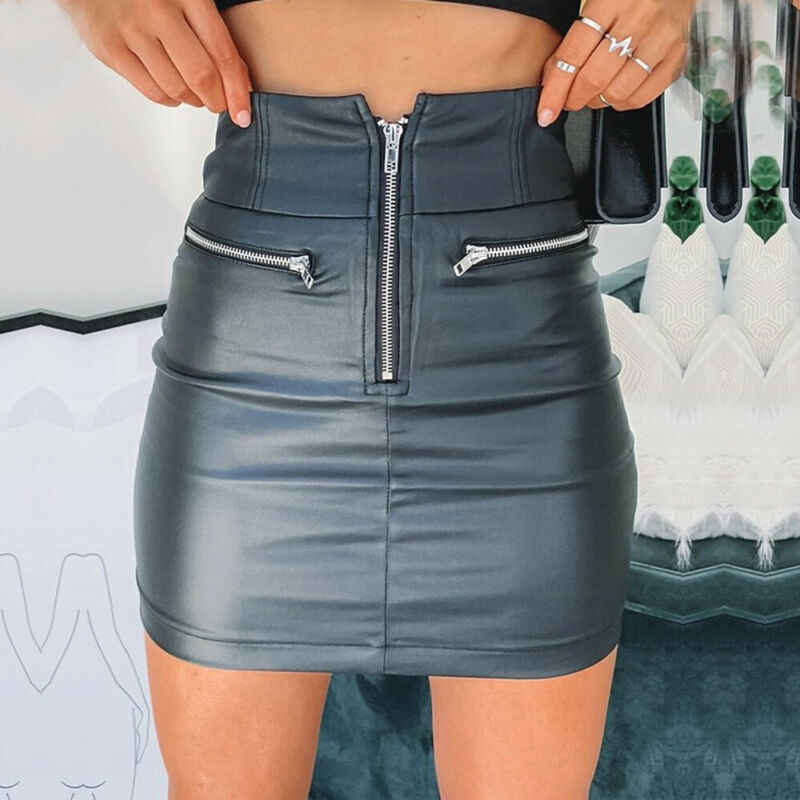 Womens PU Leather Zipper Skirt High Waist Pencil Evening Party Club Wear Fashion Bodycon Short Mini Skirt
