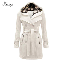 Women Winter Double Breasted Warm Coat Mid Length Outwear Trench OverCoat With Belt Fashion Soild Clothing Elegant Windbreaker