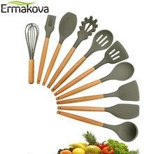 ERMAKOVA набор силиконовых кухонных принадлежностей, натуральные деревянные ручки, щипцы, лопатка, ложка с антипригарным покрытием, кухонные инструменты, гаджет