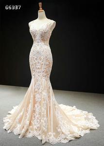 Image 5 - Кружевные Простые Свадебные платья цвета шампанского 2020, свадебные платья без рукавов с юбкой годе