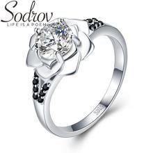 Женское кольцо из серебра 925 пробы с цветком