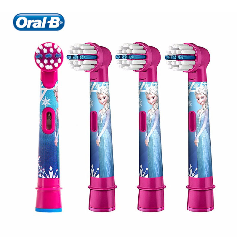 Oral B Kids Replacement Brush Heads 2/4 Pcs Elsa Extra Soft Bristles for Most Oral B kids Electric Toothbrushes image