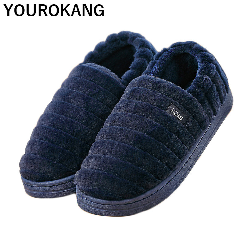 Men Slippers Winter Warm Indoor Shoes Bedroom Floor Home Slipper Soft Plush Male Flip Flops Antiskid Slip-on Couple Footwear