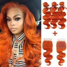 Fasci di onde del corpo di Remy Forte con chiusura capelli biondi arancioni Remy 3 4 fasci con chiusura fasci di tessuto brasiliano per capelli veloce USA