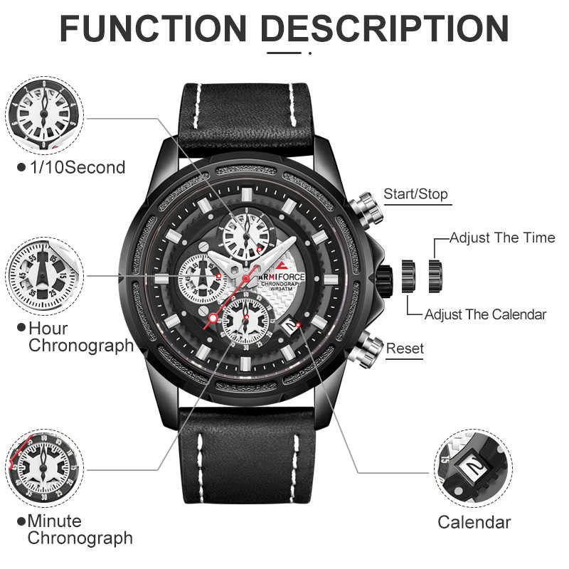 ARMIFORCE New Fashion Design Men's Watch Top Luxury Watch Men Sports Waterproof  Male Clock Classic Wristwatch Relogio Masculino