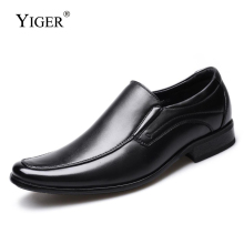 YIGER New Men dress shoes leather big size man derby slip-on male formal mens business  0353