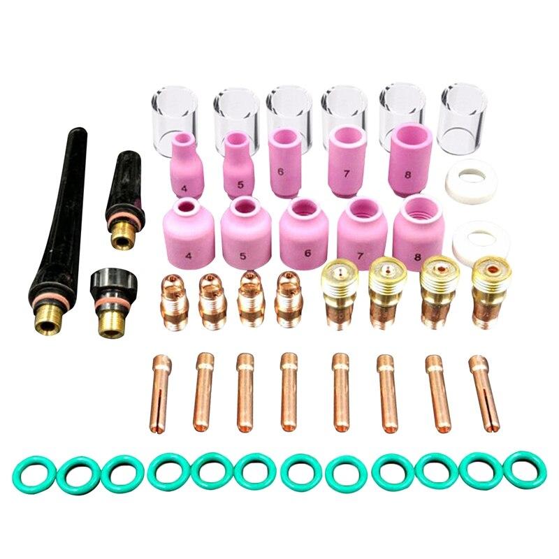 GTBL 49 teile/satz Durable Wig-schweißbrenner Stubby Tig Gas Objektiv #10 Pyrex Glas Tasse Kit Für WP-17/ 18/26 Mayitr Schweißen Zubehör