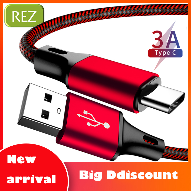 REZ USB Type C Cable to For Xiaomi Red Fast Charging Type-C kabel Usb Data Wire Phones USB-C провод кабель