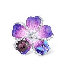 Utimtree Vintage Luxury Women Rings 925 Sterling Silver Jewelry Enamel Flower Crystal Engagement Promise Finger Ring Female Gift