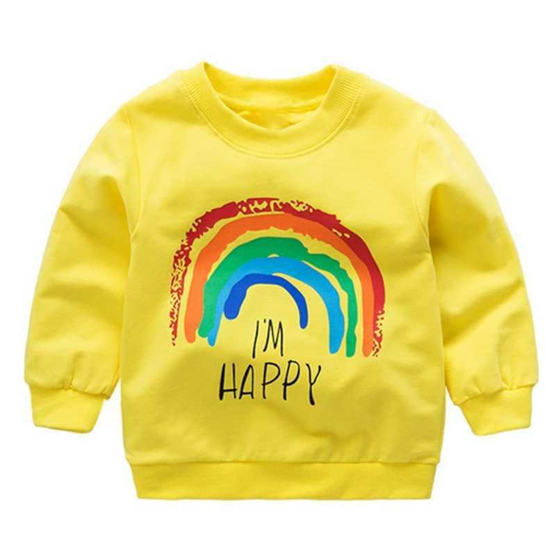 가을 겨울 신생아 소년 소녀 무지개 인쇄 된 티셔츠 어린이 아기 긴 소매 캐주얼 셔츠 탑스 유아 착용