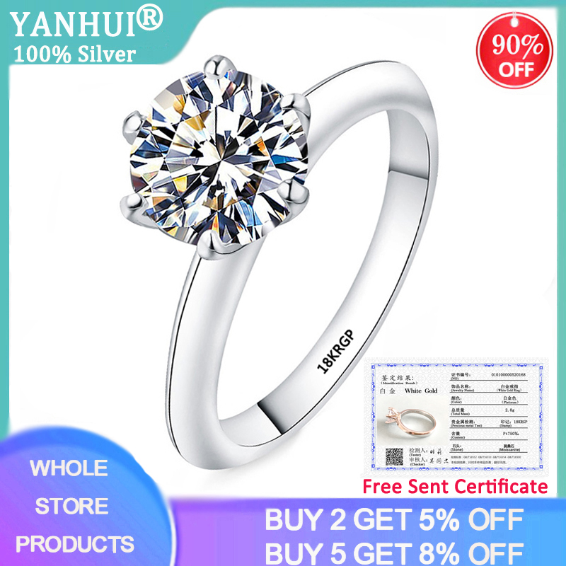 YANHUI With Certificate Solid 18KRGP White Gold 2ct Moissanite Wedding Rings For Women Engagement Gift Fine Jewelry MSR168