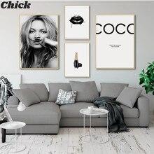 Abstrato moderno moda menina pintura da lona arte da parede preto branco coco lábio salão de beleza cartaz impressão imagem para sala estar decoração casa