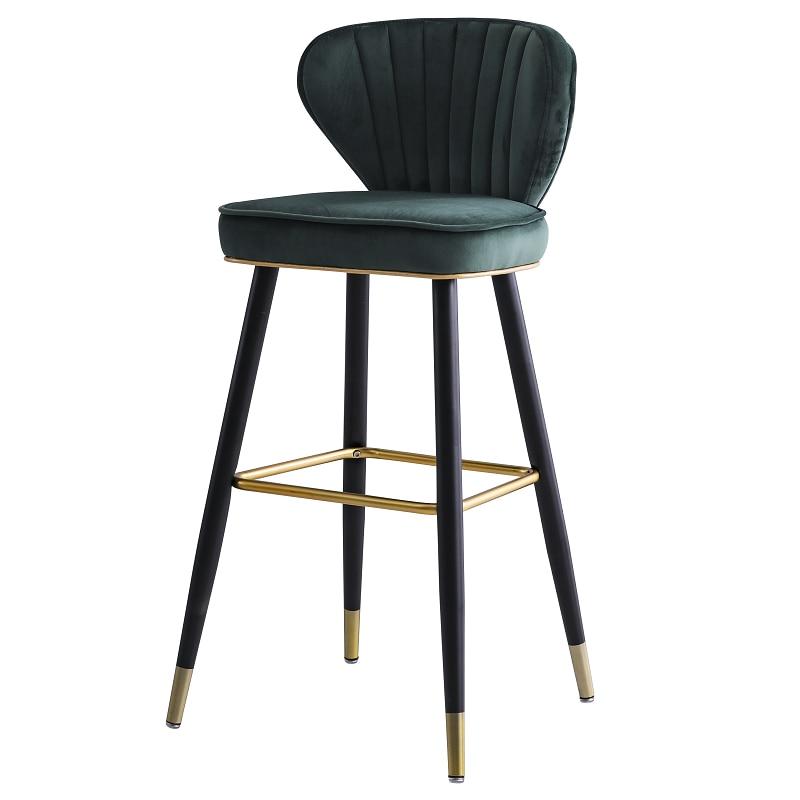 Light Luxury Bar Chair Modern Simple American Leisure High Foot Stool Northern Europe Bar Chair Domestic Backrest Island Chair