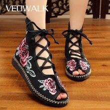 Veowalk Handmadeผู้หญิงสูงผ้าใบแบนGladiatorรองเท้าแตะเปิดPeep Toeฤดูร้อนผ้าฝ้ายปักLace Upรองเท้าSandials Mujer
