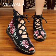 Veowalk Handmade High Top Women Canvas Flat Gladiator Sandals Open Peep Toe Summer Cotton Embroider Lace Up Shoes Sandials Mujer