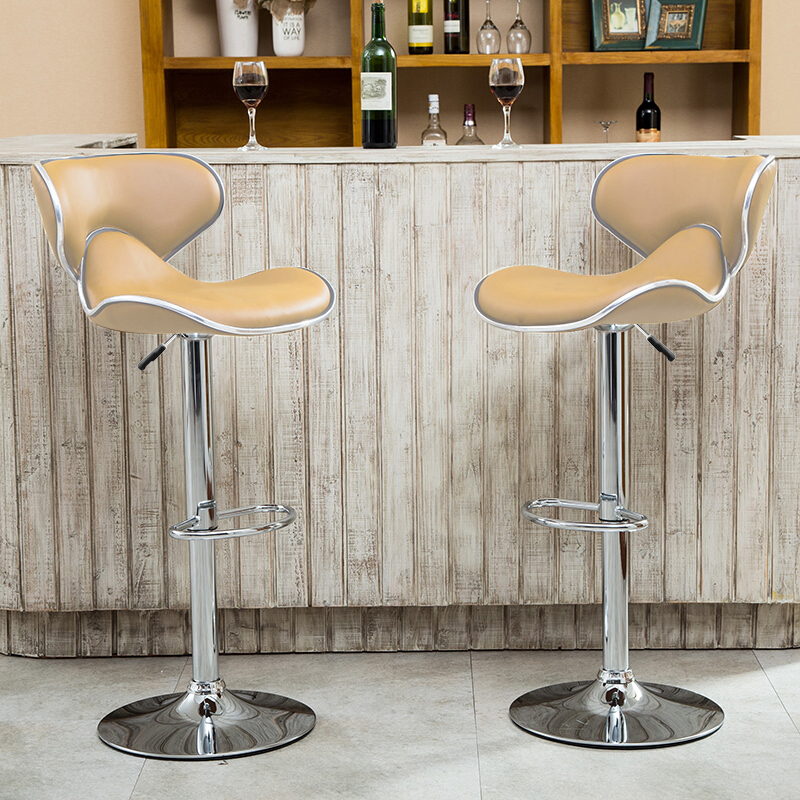 2pcs/set High Quality Butterfly Backrest Bar Chairs PU Leather Stool Gas Lift Height Adjusted Rotatable Kitchen Accessories HWC