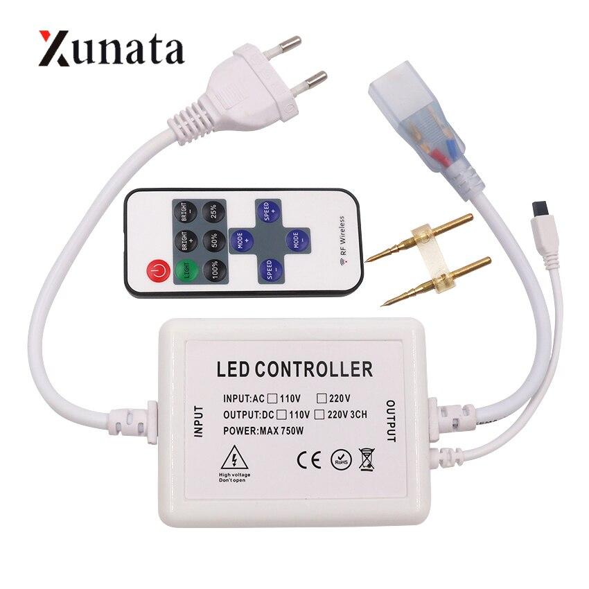 AC 110V 220V LED Dimmer Controller With 750W IR Remote EU/US Plug For LED Strip Light LED Neon Light