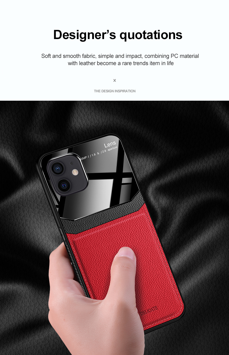 PU Leather Glass Back Cover Shockproof Case for iPhone 12 Mini