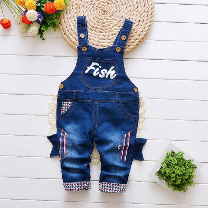 Bibicola Boys Jeans Pants Cowboy-Trousers Kids Children Cartoon Clothing Autumn Bib-Straps title=